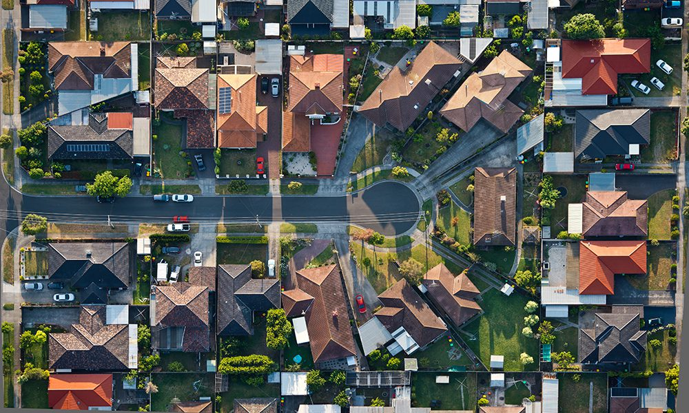 Property street aerial view